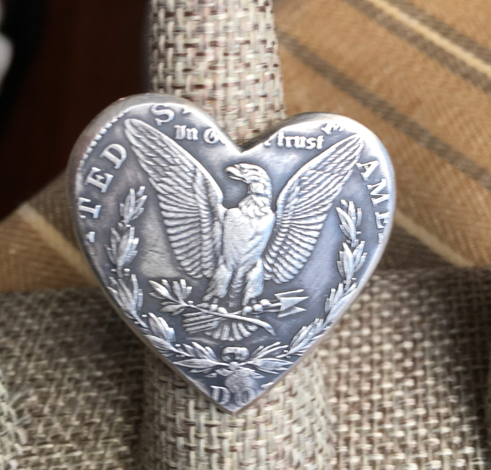 Sterling heart liberty coin ring