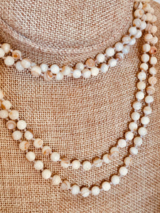 Mother of pearl knotted necklace