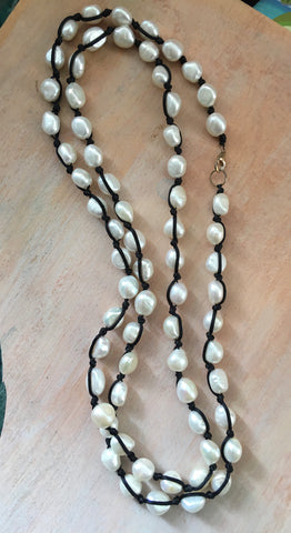 Knotted semi precious pearls