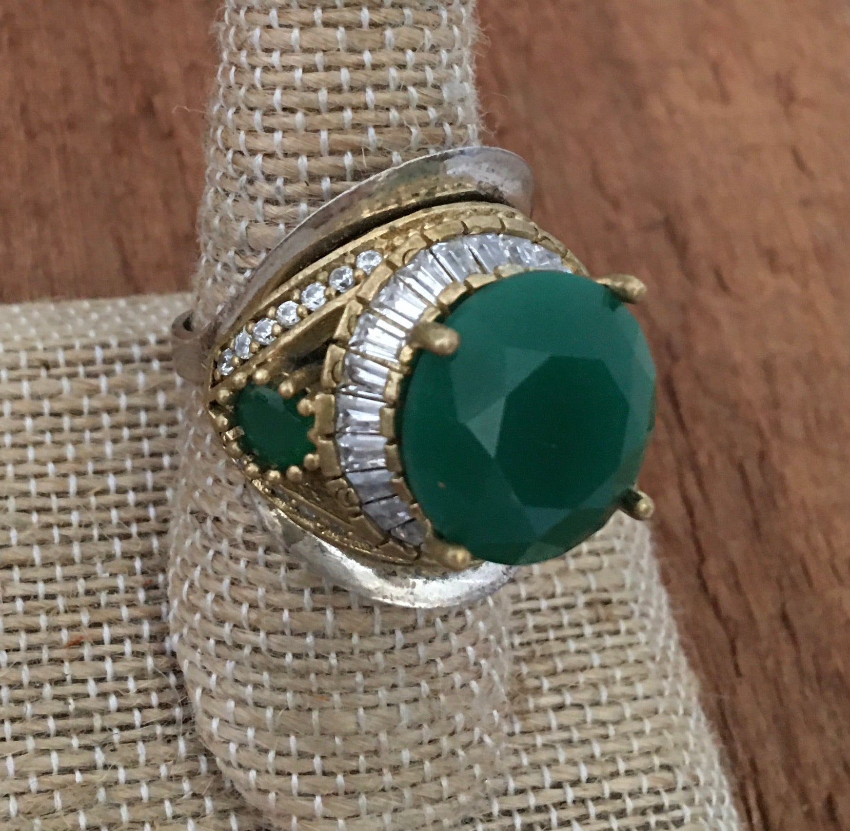Sterling emerald fun cocktail ring