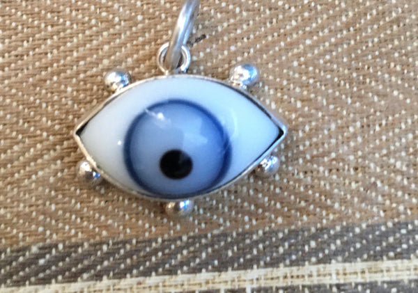 Sterling  blue eyeball charm with lashes