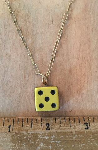 Vintage Warm yellow dice necklace