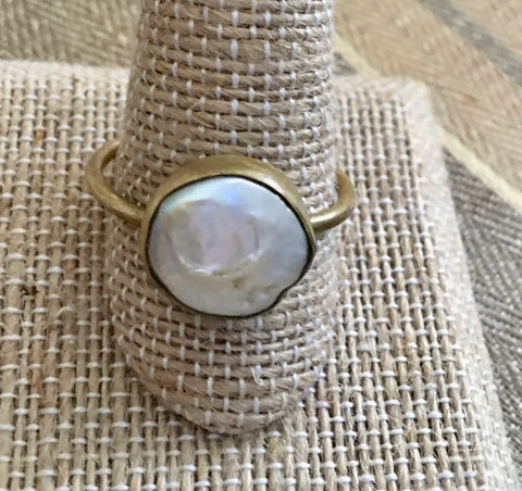 Size 11 simple pearl ring