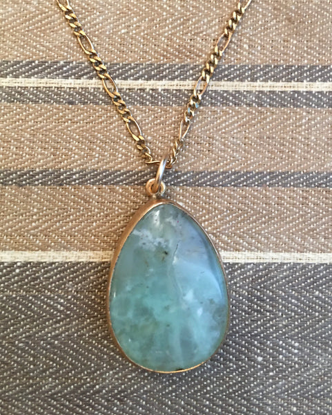 "Aquamarine teardrop ocean blue classic pendant on a 20"" chain"