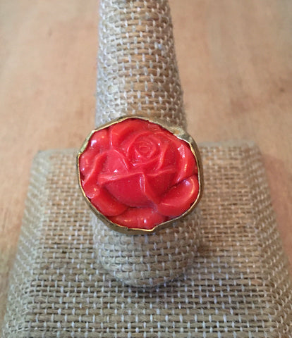 Vintage glass rose ring