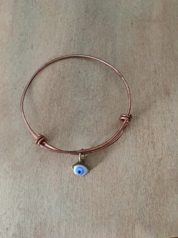Adjustable Copper Bangle with a blue eye
