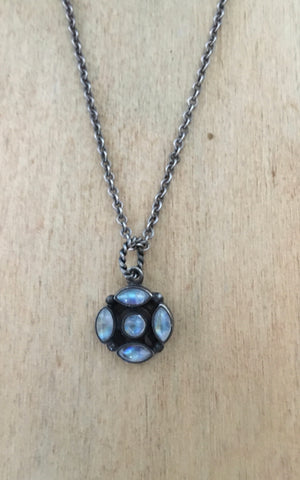 Rainbow moonstone and sterling necklace
