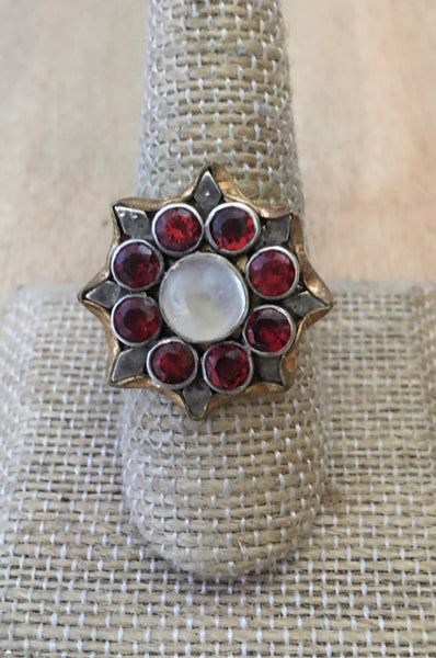 Garnet and moonstone flower ring