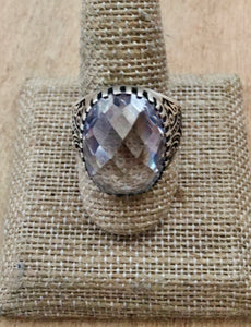 Rock crystal and sterling ring