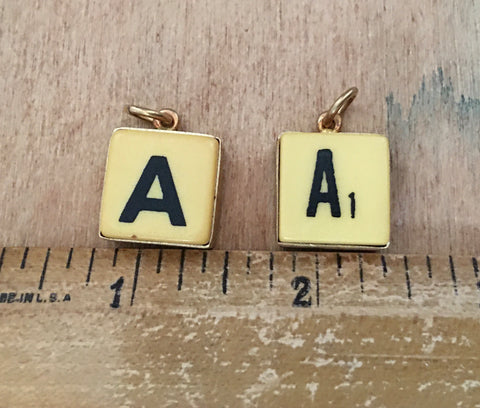 "Letter ""A"" dice charms"