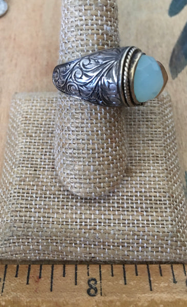 Hand Engraved stunning 2 stone ring