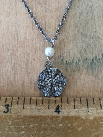 Sterling, diamond & pearl necklace