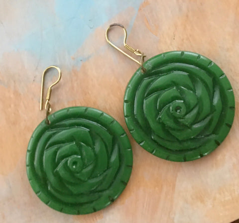 Green rose bud earrings