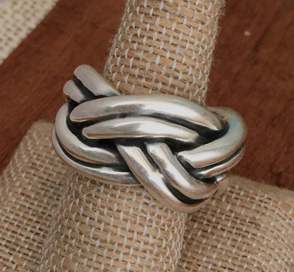 Sterling thick braided ring
