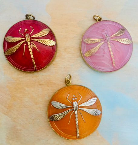 Czech dragonfly pendant set in brass
