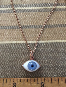 Simple blue eye rose gold necklace