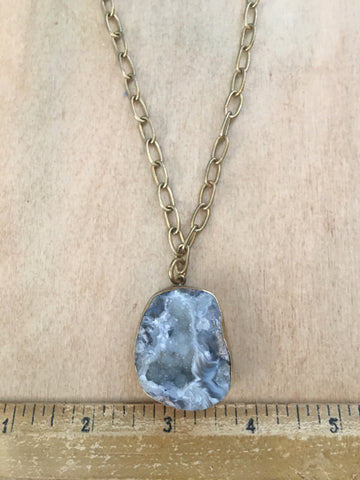 "Chunky geode pendant on a 20"" brass chain"