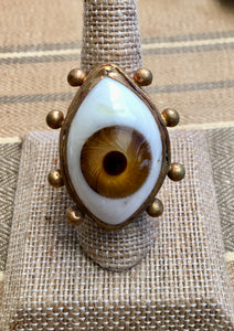 Large light brown eyeball ring