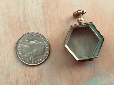 Brass hexagon locket