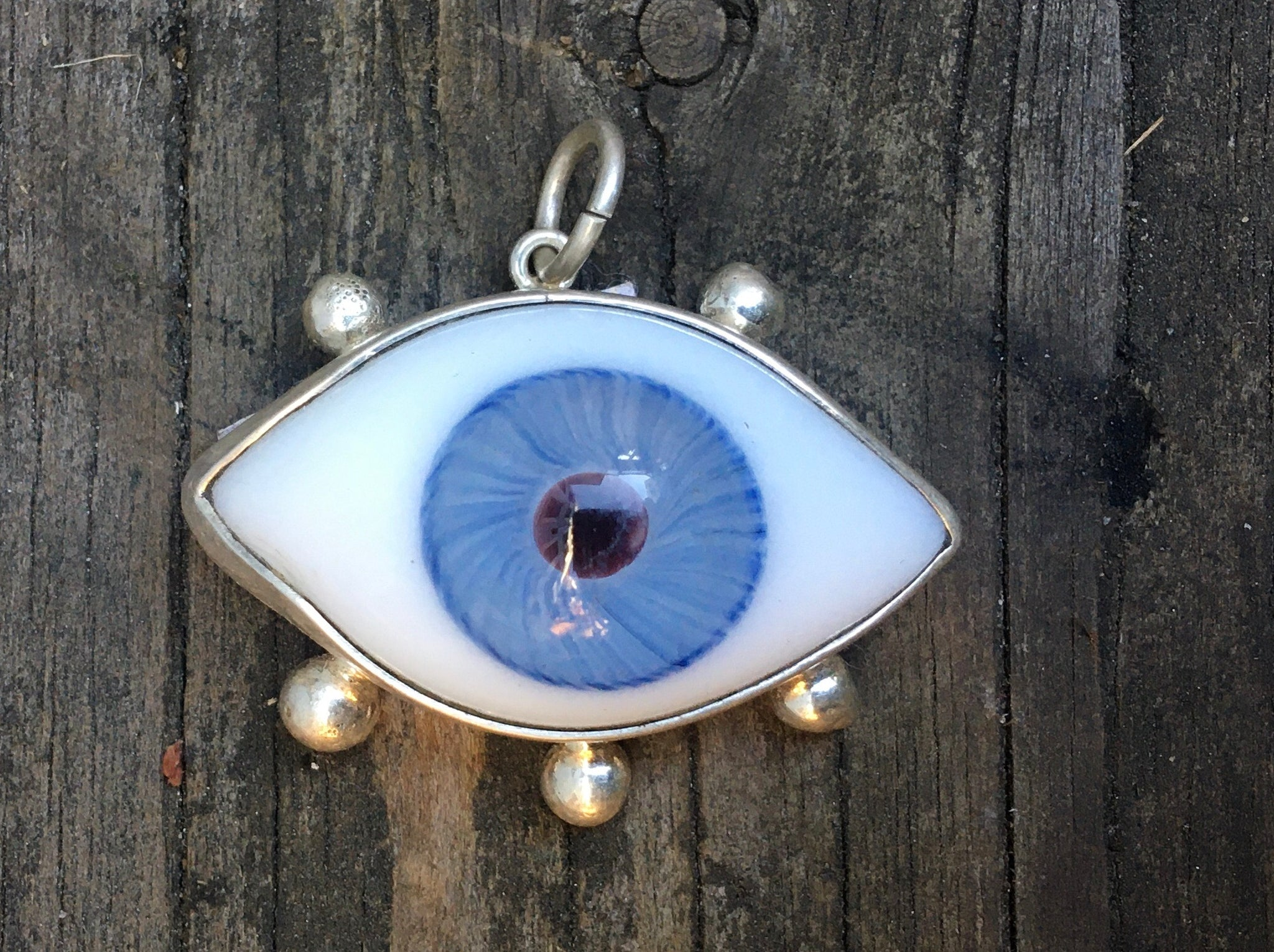 Large Sterling eyeball charm with lashes