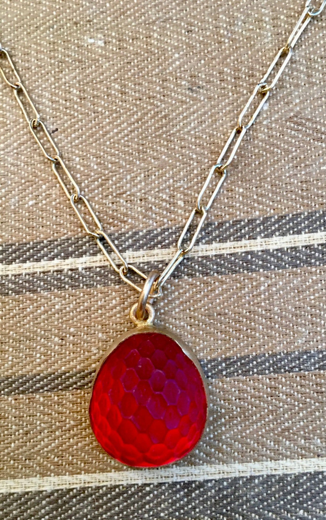 "Vintage glowing strawberry charm on 18"" brass chain"