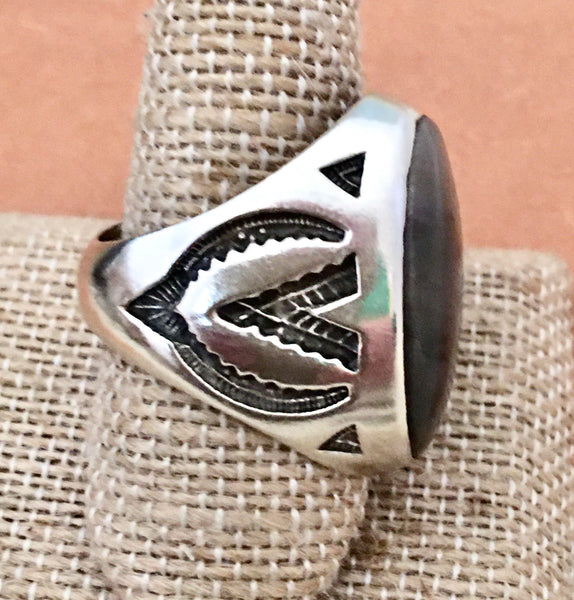 Antique Sterling Bells Trading Post Ring Size 10