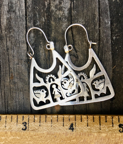 Sterling Mexican folk earrings