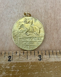 Brass British jumping horse medal