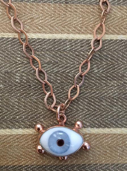 Rose gold blue eyeball necklace