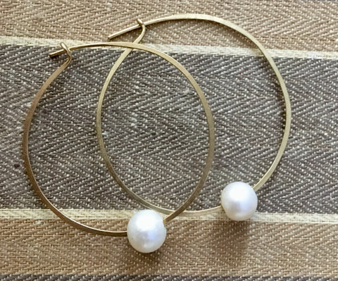 Simple pearl hoops