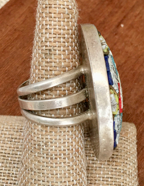Micro mosaic sterling ring