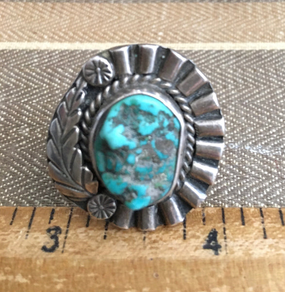 Nuggety Antique turquoise and sterling ring