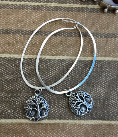 Silver tree of life hoops