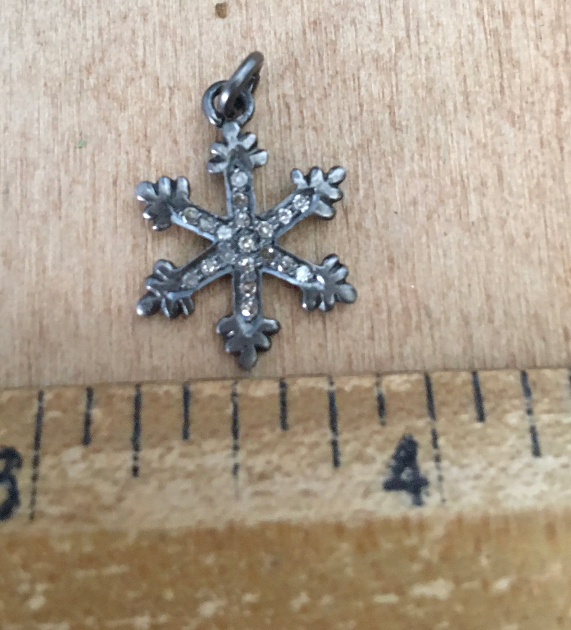 Sterling and diamond snowflake charm