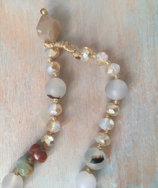 Eclectic semi precious knotted necklace