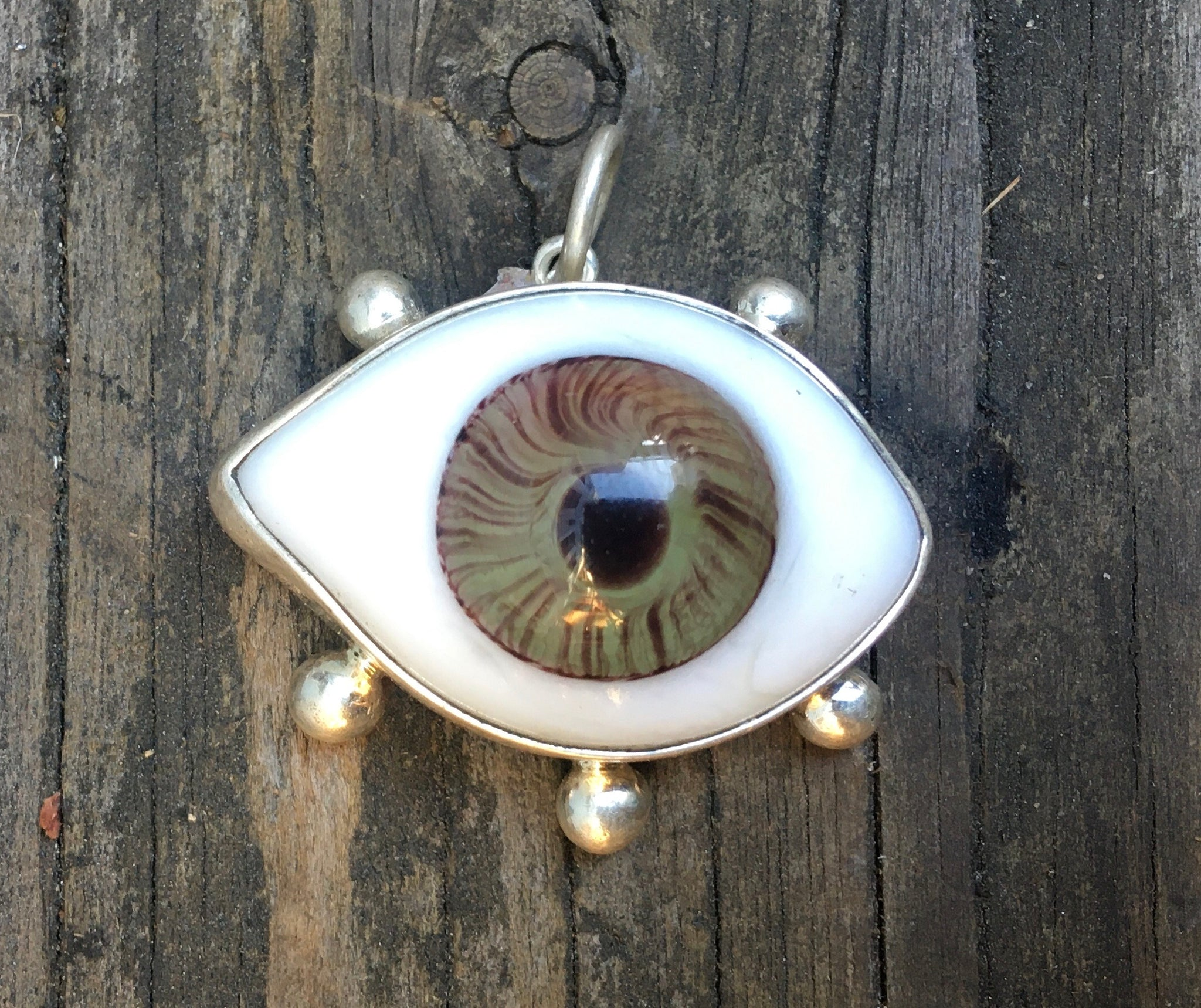 Large Sterling green eyeball charm