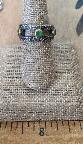 Sterling and emerald hammered band ring