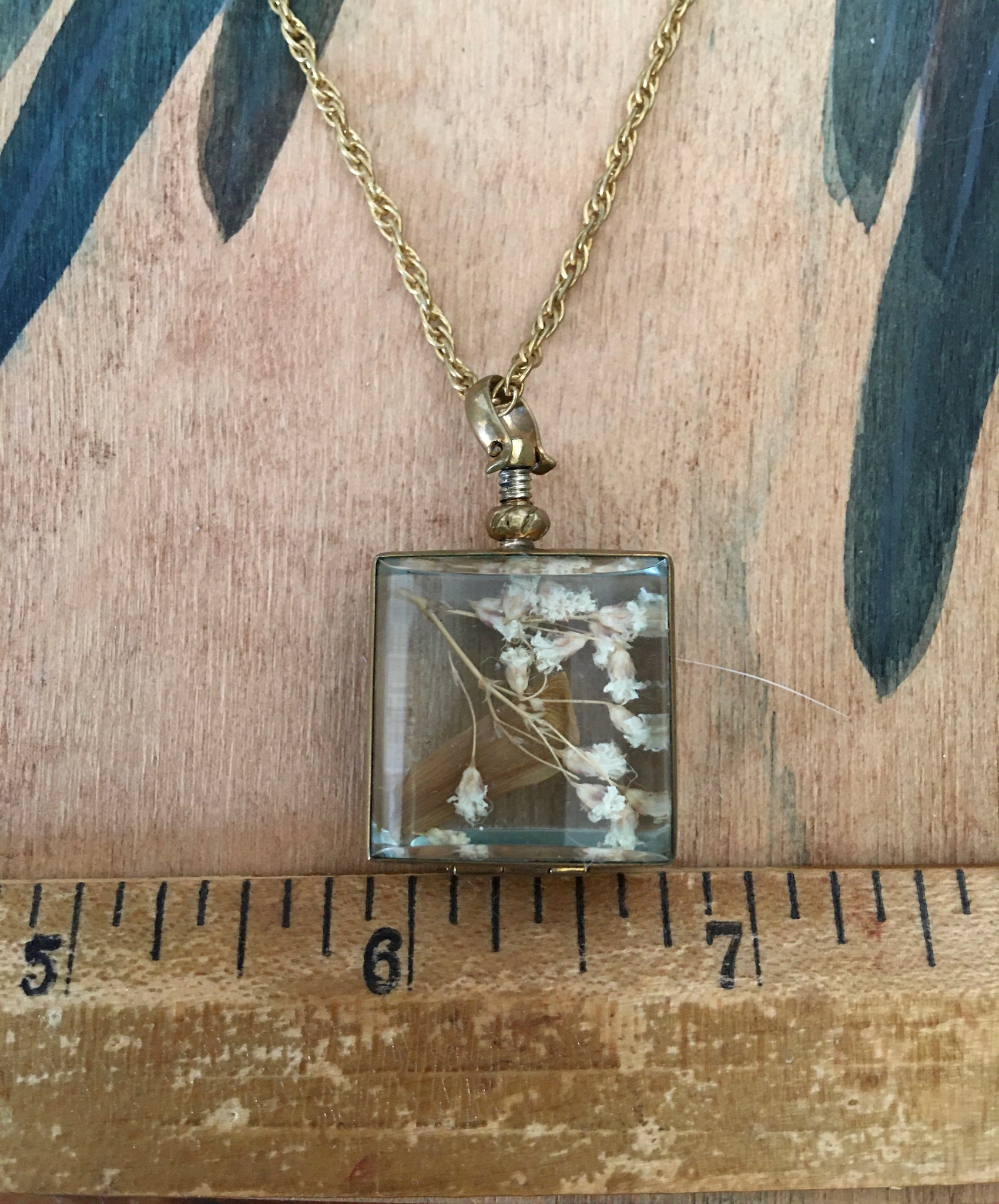 Standard size square brass locket