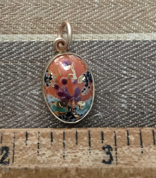 Vintage German orange and golden speckled pendant