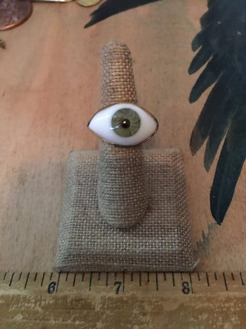 Small size green eyeball ring size 5.25