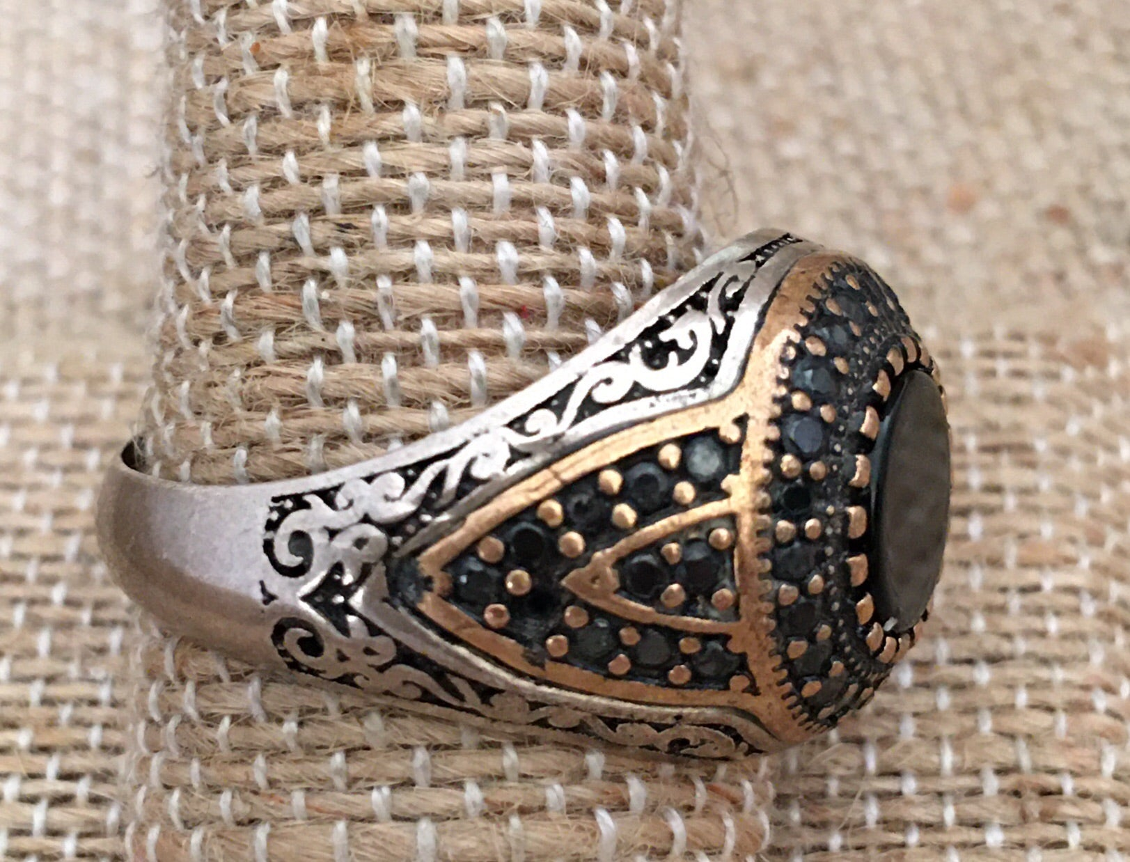 Sterling and onyx ring