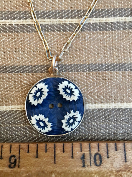 Navy blue button necklace