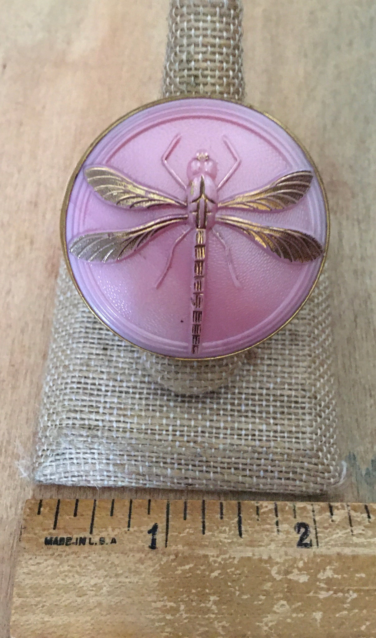 Pink Czech dragonfly ring