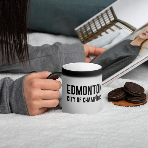 Edmonton City of Champions Matte Black Magic Mug - yegco