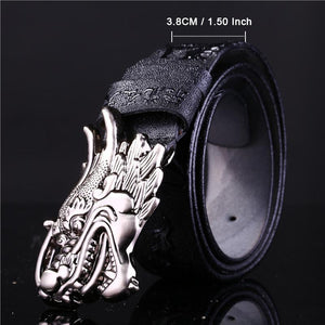 Handmade Dragon Carved Leather Belt
