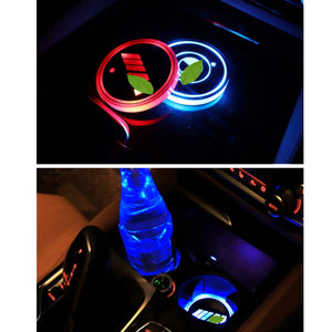 2pcs LED Car Cup Holder Mats    [Car Logo/Superheroes/Cartoons]