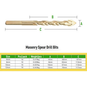 Masonry Spear Drill Bits (10pcs)
