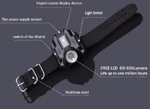 Load image into Gallery viewer, New Portable XPE Q5 R2 LED USB Charging  Wrist Watch