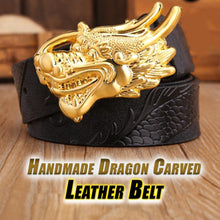 Load image into Gallery viewer, Handmade Dragon Carved Leather Belt