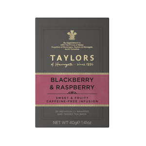 A small grey cardboard box with 20 individually wrapped and tagged Taylors of Harrogate Blackberry & Raspberry. Pink label –Sweet & fruity caffeine free infusion